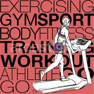 Sport Illustration of Athletic woman on gym class walk treadmill running deck - Aroastock