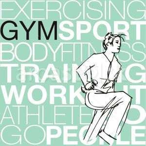 Sport Illustration of Woman lifting dumbbells at the gym - Aroastock
