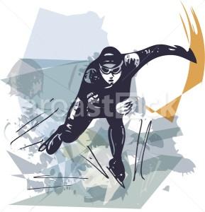 abstract illustration of man ice skater skating at colorful sports arena - Aroastock