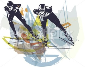 abstract illustration of speed ice skaters at colorful ice rink - Aroastock